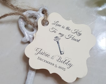 Personalized Favor Tags 2x2'', Wedding tags, Thank You tags, Favor tags, Bridal Shower Favor Tags, skeleton key, key of happiness