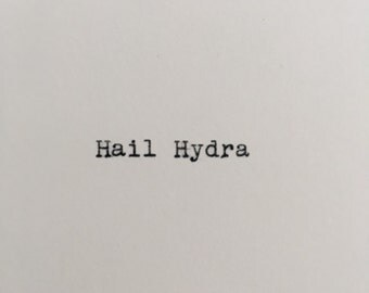 Marvel Quote (Hydra) Typed on Typewriter - 4x6 White Cardstock with Red Hydra Stamp