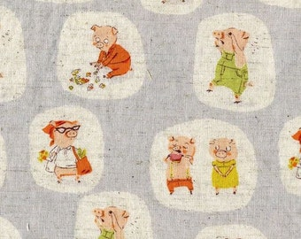 Heather Ross Nursery Versery - FQ Gray Little Pigs Went to Market Fabric