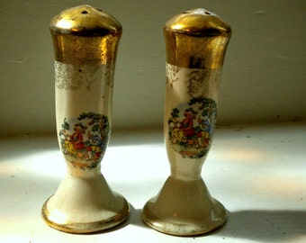 Antique French Pastorale Salt and Pepper Shaker Pair, Porcelain