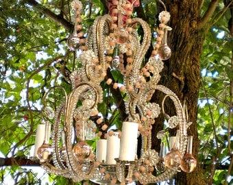 Antique Italian Murano Pink Glass Beaded Chandelier, French Boudoir
