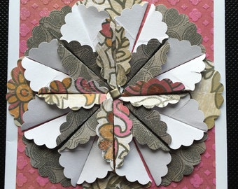 Handmade Pink, Taupe and Orange Paper Origami Flower Card