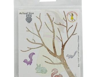 "Cheery Lynn Designs Die ~ Birch Tree W/ Cute Critters, 4.3/8""x5.3/8"" B370"