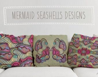 Mermaid Seashells Printed Throw Pillow. Cushion Cover, Pink Apartment and Dorm Decor, Sofa Cushion, Underwater, Nautical, Purple Decor