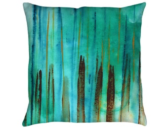 Beach Fence Printed Throw Pillow. Cushion Cover, Apartment and Dorm Decor, Sofa Cushion, Turquoise Pillow, Aquatic, Stripes, Nautical Pillow