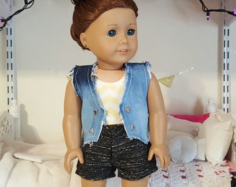 18 inch doll denim studded vest