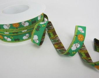 Woven Ribbon 16 mm sheep to green