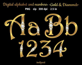 Diamonds in gold alphabet and numbers clip art. Letters, numbers, symbols clipart. Diamonds & gold alphabet. Instant download in PNG format.