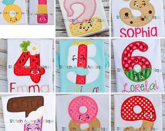 Happy Shopper Birthday Number Set Machine Applique Design