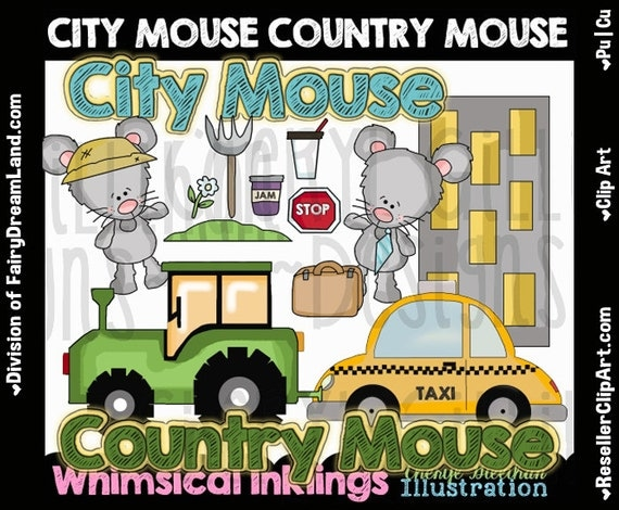 City & Country Mouse Clip Art Commercial Use Digital Image