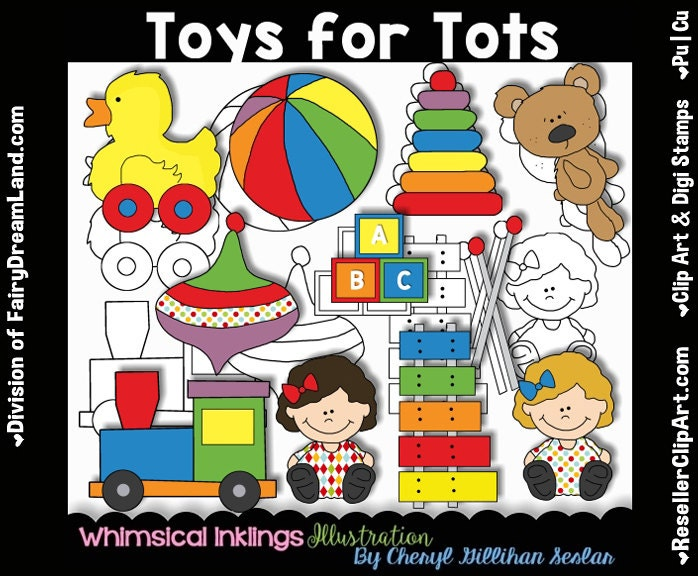 Artwork Toys For Tots : Toys for tots digital clip art black and white image set