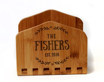 Bamboo Engraved Napkin Holder - Personalized Wedding Gift for Bride & Groom