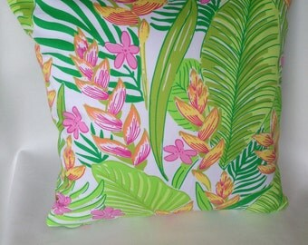 """Lilly Pulitzer Floral-- Reverse  Plaid 16""""x16"""" Pillow Cover"""