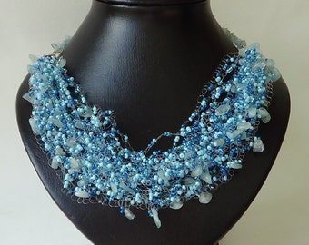 Necklace. Air. Agate. Blue