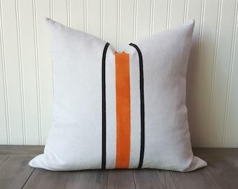 Halloween Pillow , Canvas Stripe Pillow cover , Grain sack pillow cover , Feed Sack Pillow , Grainsack Pillow , Farmhouse Pillow