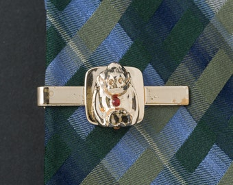 Vintage Monkey Tie Clip  Gold Tone with Red  rhinestone