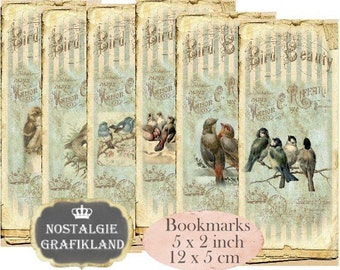 Birds Bookmarks Vintage Instant Download digital collage sheet E071 Vintage Paper