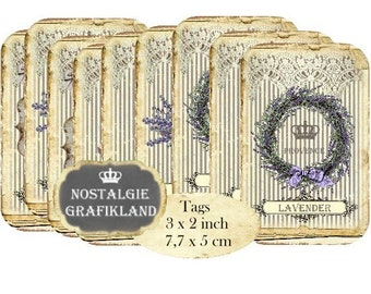 Lavender Lace Tags French Provence Lavande Instant Download digital collage sheet T166