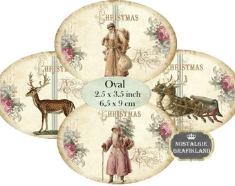 Christmas Shabby Chic Labels Reindeer Santa Claus Ovals 3.5 x 2.5 inch Instant Download digital collage sheet O147