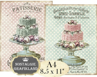 Patisserie Shabby Chic Wedding Cake Bakery A4 Decoupage Transfer Instant Download digital collage sheet A132