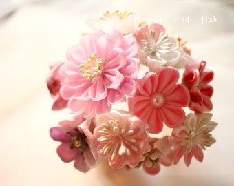 kanzashi hair comb-kanzashi flower-Wedding Hair Pins- Wedding Hair Flower--Flower accessories- Floral hair pins--Pink Wedding-Bridal Gift