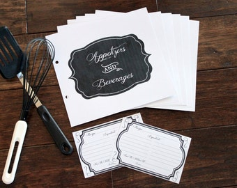 Black & White Recipe Cards and Dividers Starter Set - Chalkboard Style - Recipe Book Set - Made to be used with any album in my shop