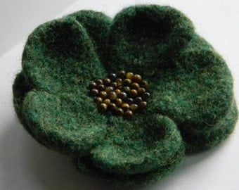 Moss Green Flower Pin tiger's eye beads handmade crocheted felted--for coat, hat, or tote--4 in.