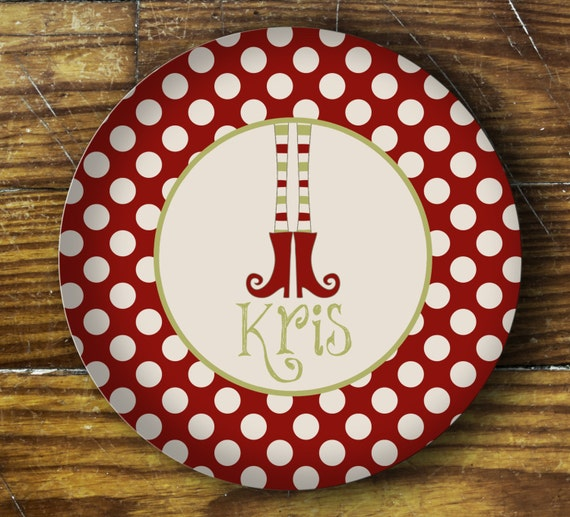 Personalized Dinner Plate or Bowl - Elf Feet