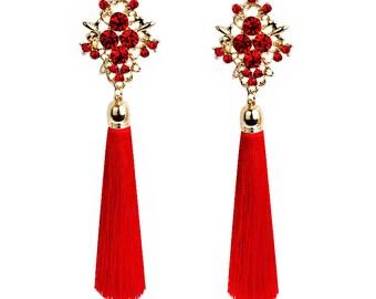 Handmade Red Tassels Earrings, Rhinestone Bride Ear Pendant