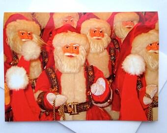Santa Christmas Card - Cute Christmas Card - Multiple Santas Christmas Card - Adorable Santa Christmas Card - Colorful Santa Christmas Card