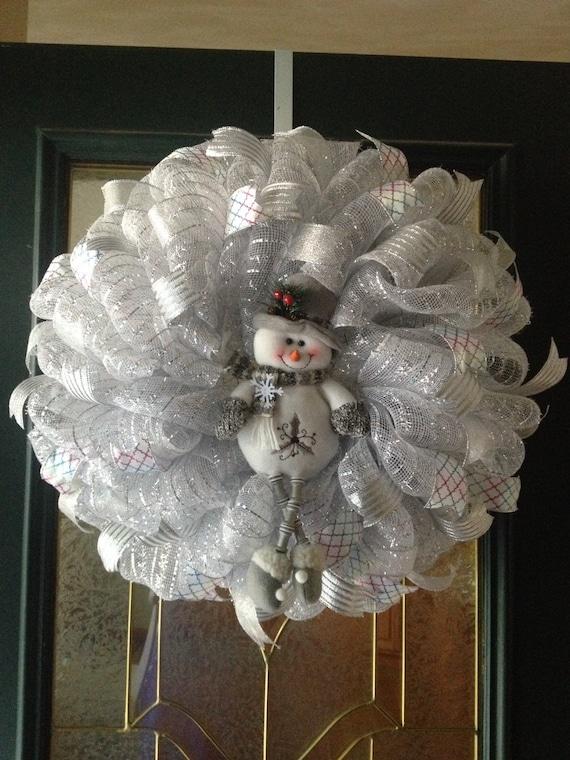 White Snowman Mesh Wreaths