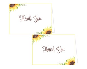 Printable Floral Thank You Card - Printable Instant Download - Floral Baby Shower Thank You Card - Sunflower Thank You Card