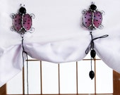 Embrace stained glass, magnetic embrace, pink ladybugs with black spikes, mini tieback curtain for nursery, perfect for baby gift or shower