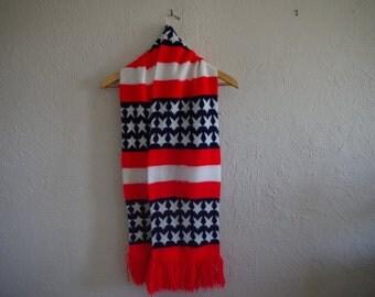 Vintage USA Scarf, American Flag Patriotic Scarf