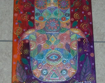 """HAMSA colorful whimsical abstract acrylic painting on 11"""" x 14"""" wrapped canvas modern outsider OOAK folk art original art by micki"""