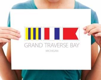 Grand Traverse Bay, Michigan - Nautical Flag Art Print