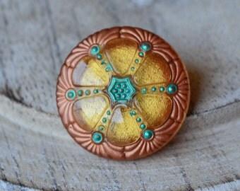 27mm Czech Glass Wheel Button- Gold & Turquoise (55-B)