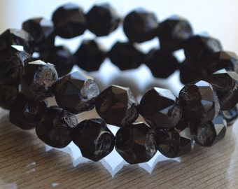 10 Czech Glass Picasso 9mm Central Cut Beads- Jet Black (123-10)