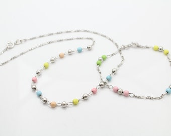 Italian 15-Inch Necklace and 7-Inch Bracelet Set With Silver and Pastel Beads. [7288]
