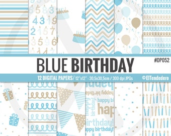 """Birthday digital paper pack """"Blue birthday"""", with blue birthday backgrounds, to use in scrapbooking, card making, as backgrounds..."""