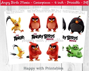 Angry Birds Centerpieces - Angry Birds Movie Centerpieces - Red Bird - Angry Birds party - 4 inch Centerpieces - Printable centerpieces