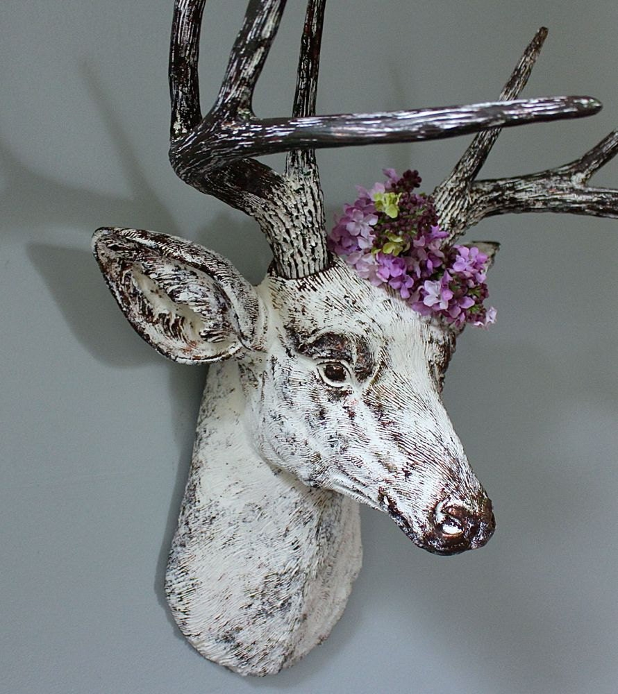 Faux taxidermy deer head stag buck wall mount decor vintage - Decorative stags head ...
