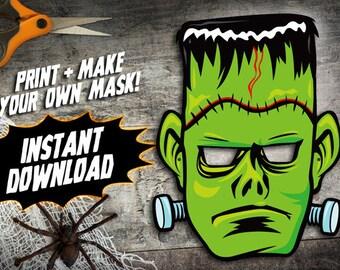 PRINTABLE Frankenstein Mask, kids paper halloween mask, DIY halloween costume parties, paper monster mask, instant download PDF