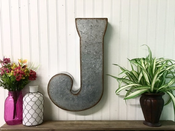 Large Letter J For Wall Large Metal Lettersletter Jgalvanized Metal Wall