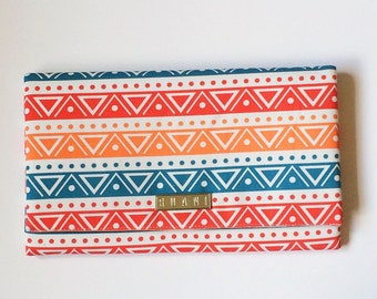Multicoloured Fabric Clutch Bag - White,Turquoise,Red and Orange