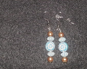 Turquoise & Gold Glass Beads Earring Set