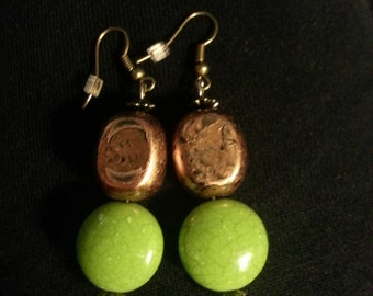 Green Round glass beads with copper beads Earring Set
