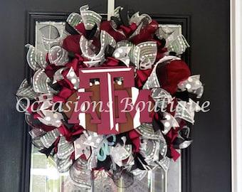 Texas A&M Wreath, Football Wreaths, Front door wreaths, Wreath for door, Door Hanger, Made to order