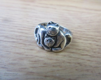 Sterling Silver Kitty Cat ring Size 8