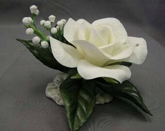 Porcelain Sculpture White Bridal Rose by E M Boehm Porcelains #F-249
